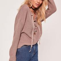 https://www.missguided.co.uk/chunky-eyelet-lace-up-jumper-brown